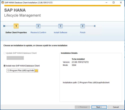SAP HANA Client Install - 2